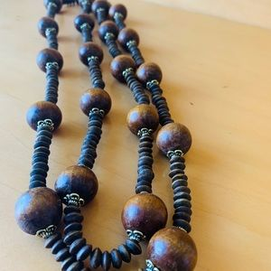 """J257 27"""" wooden Beads with gold accents"""